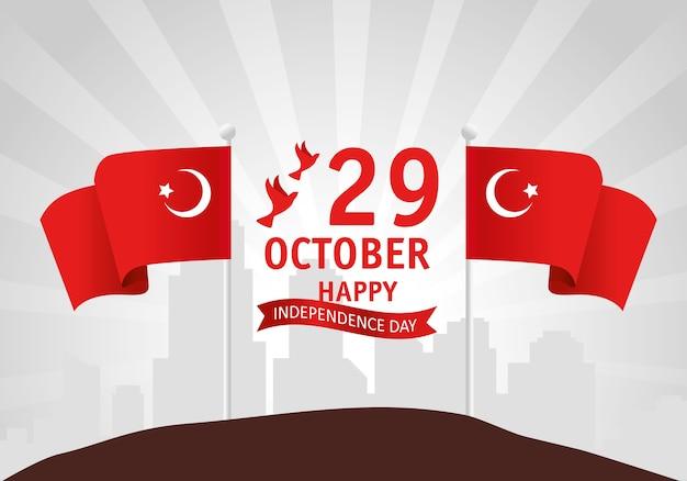 29 ottobre festa della repubblica turchia con bandiere Vettore Premium