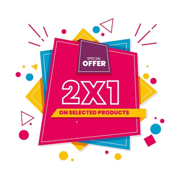Banner promozionale 2x1 Vettore Premium