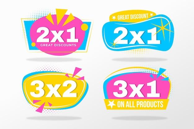 Etichette promozionali 2x1 Vettore Premium