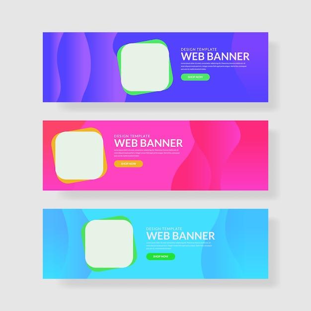 3 imposta ui pastel color banner. composizione quadrata arrotondata Vettore Premium