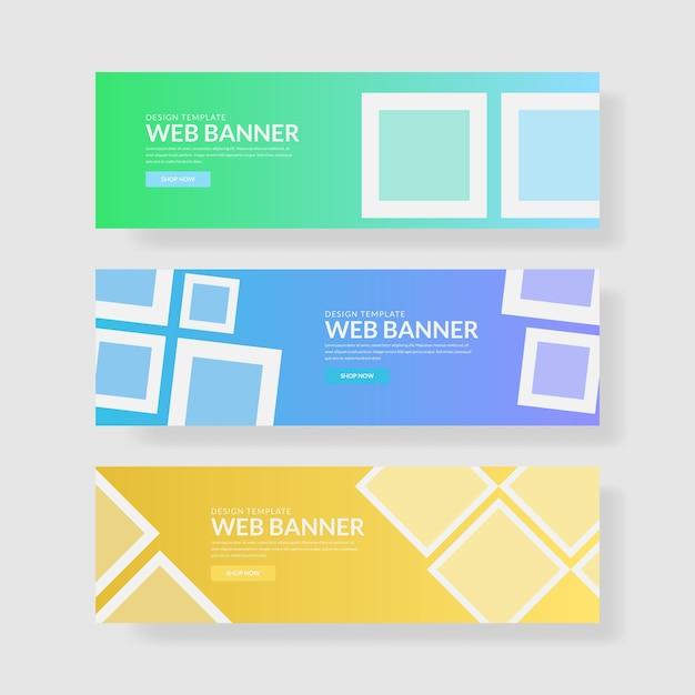 3 imposta ui pastel color banner. composizione quadrata Vettore Premium