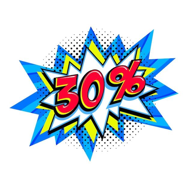 30 di sconto. palloncino scoppio comico blu vendita Vettore Premium