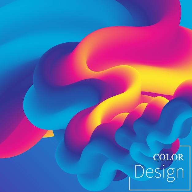 3d flusso astratto. sfondo fluido sfumato brillante Vettore Premium