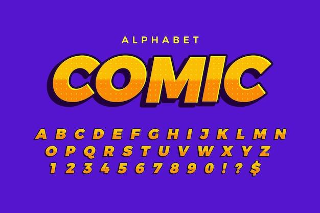 Concetto comico 3d per la raccolta di alfabeto Vettore Premium