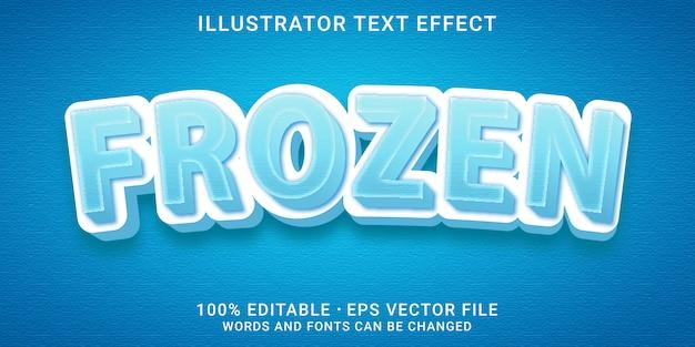 Effetto di testo modificabile 3d - stile congelato Vettore Premium
