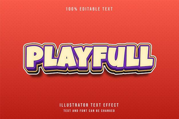 3d testo modificabile effetto giallo viola modello fumetto stile rilievo Vettore Premium