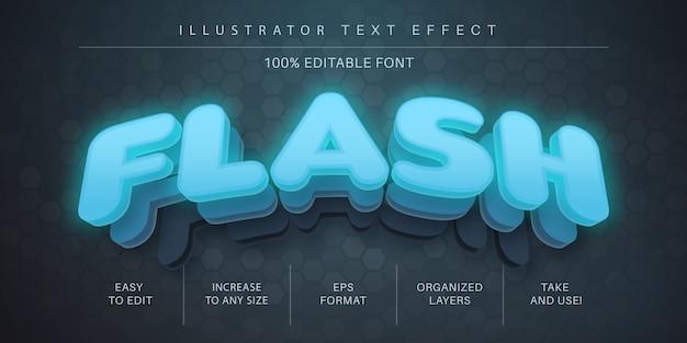 Effetto di testo flash 3d, stile del carattere Vettore Premium
