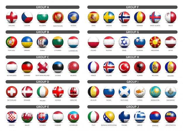 Calcio 3d con set di bandiera del paese Vettore Premium