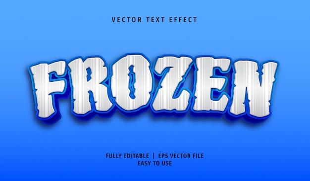 Effetto di testo congelato 3d, stile di testo modificabile Vettore Premium