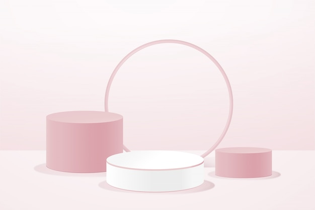 Podio rosa geometrico 3d per l'inserimento di prodotti, composizione astratta in moderno Vettore Premium