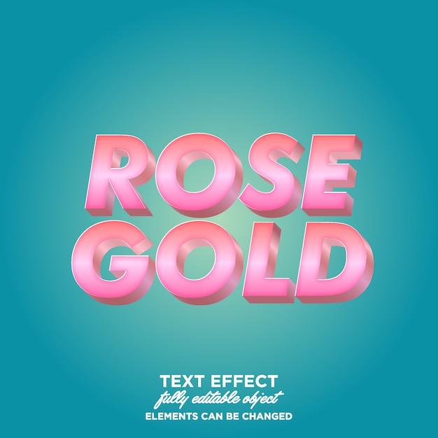 Stile di testo sfumato rosa oro 3d Vettore Premium