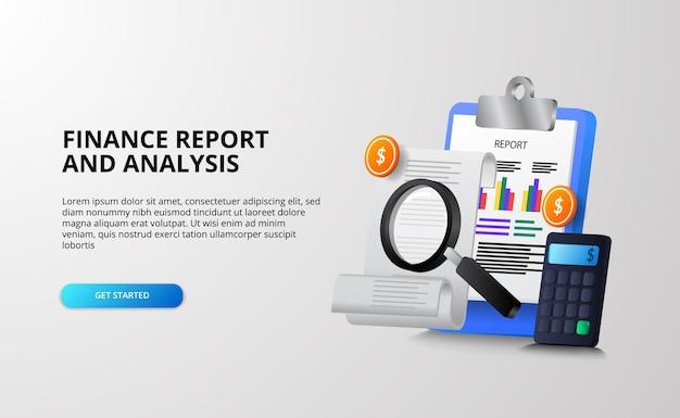 Concetto di illustrazione 3d di analisi dei rapporti di finanza e denaro per il controllo di tasse, ricerca, pianificazione ed economia Vettore Premium