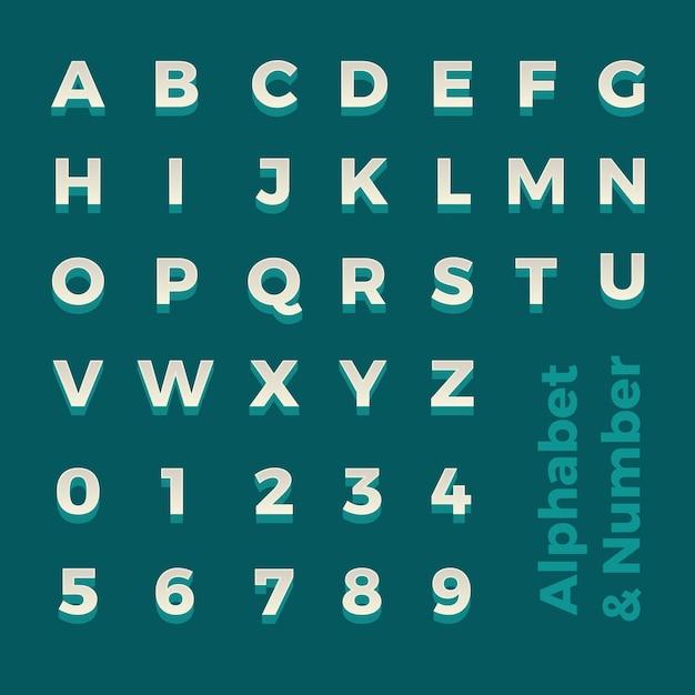 Alfabeto e numero isometrici 3d Vettore Premium