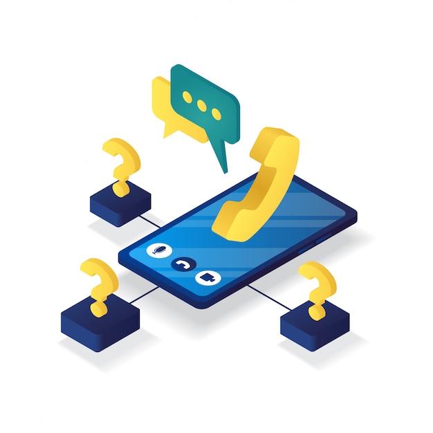 3d isometrico dell'assistenza clienti online Vettore Premium