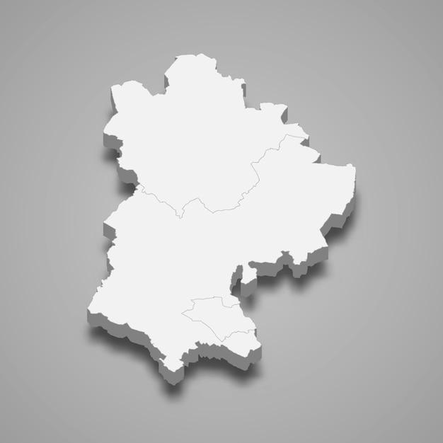 Mappa 3d dell'illustrazione cerimoniale della contea di inghilterra del bedfordshire Vettore Premium