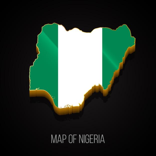 Mappa 3d della nigeria Vettore Premium