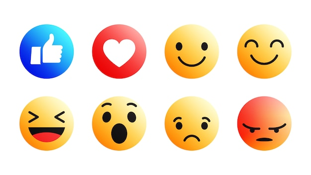 Set di icone emoji facebook 3d moderno Vettore Premium