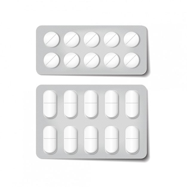 Imballaggio 3d per farmaci. antidolorifici, antibiotici, vitamine e compresse di aspirina. Vettore Premium