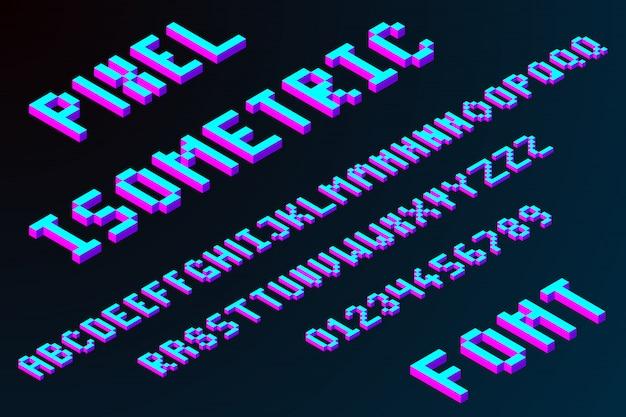 Carattere isometrico pixel 3d Vettore Premium
