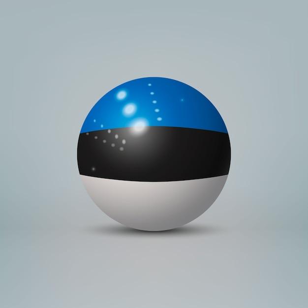 Sfera o sfera di plastica lucida realistica 3d con bandiera dell'estonia Vettore Premium