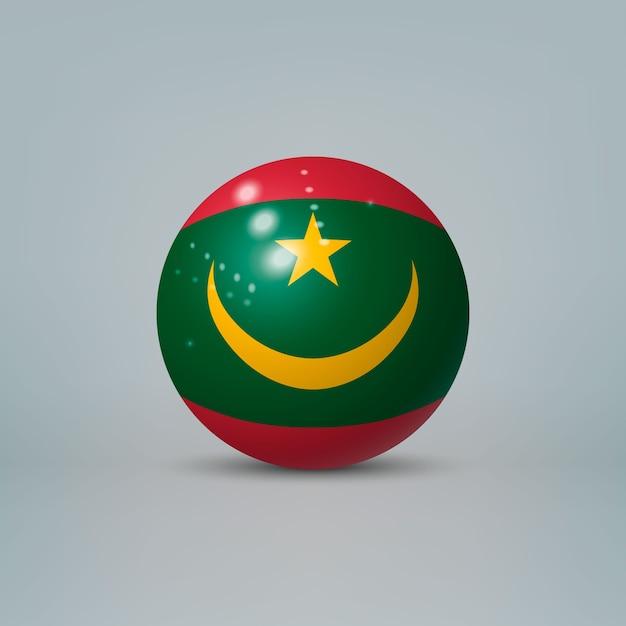 Sfera o sfera di plastica lucida realistica 3d con la bandiera della mauritania Vettore Premium