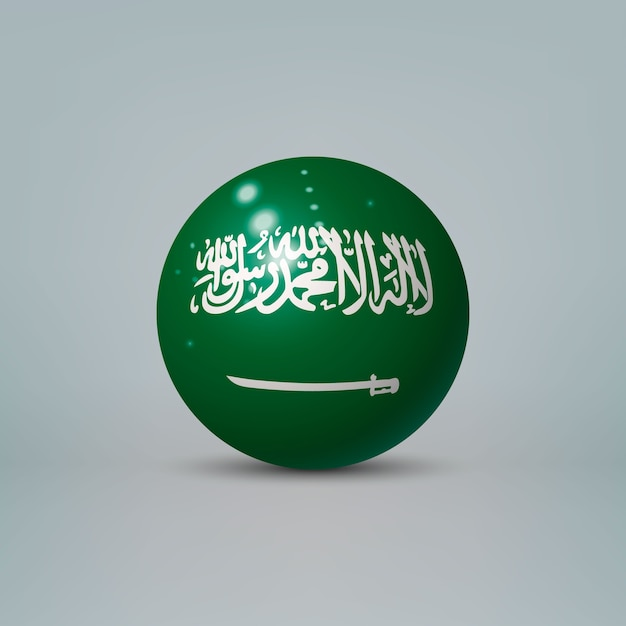 Sfera o sfera di plastica lucida realistica 3d con bandiera dell'arabia saudita Vettore Premium