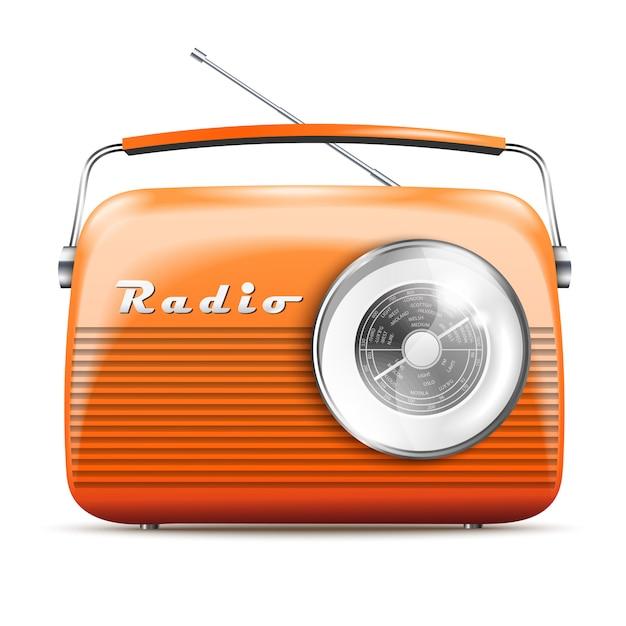 Retro radio arancione realistica 3d. illustrazione vettoriale isolato Vettore Premium