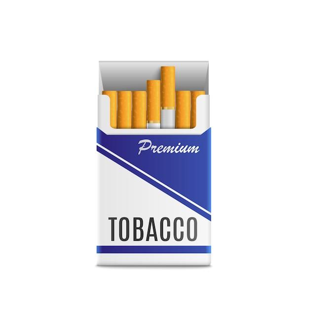 Sigarette pacchetto realistico 3d. illustrazione vettoriale di alta qualità, isolato su sfondo bianco Vettore Premium