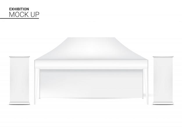 Cabina realistica del chiosco della tenda 3d con l'insegna pop da vendere la promozione di vendita. concept design di eventi e mostre. Vettore Premium