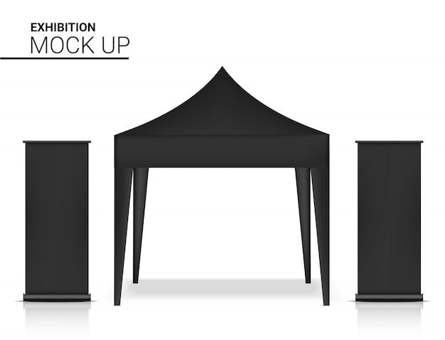 Cabina realistica del chiosco della tenda 3d con l'insegna pop per l'illustrazione di promozione di vendita di vendita. concept design di eventi e mostre. Vettore Premium