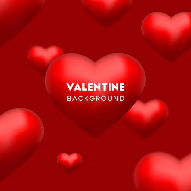 Il cuore rosso di amore 3d galleggia su fondo rosso per il vettore di san valentino Vettore Premium