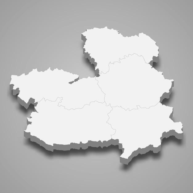 3d regione della spagna Vettore Premium