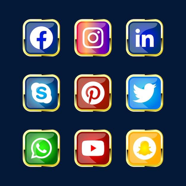 Pacchetto lucido lucido 3d del pulsante icona della rete di social media per il sito web dell'interfaccia utente ux e l'uso delle app premium Vettore Premium
