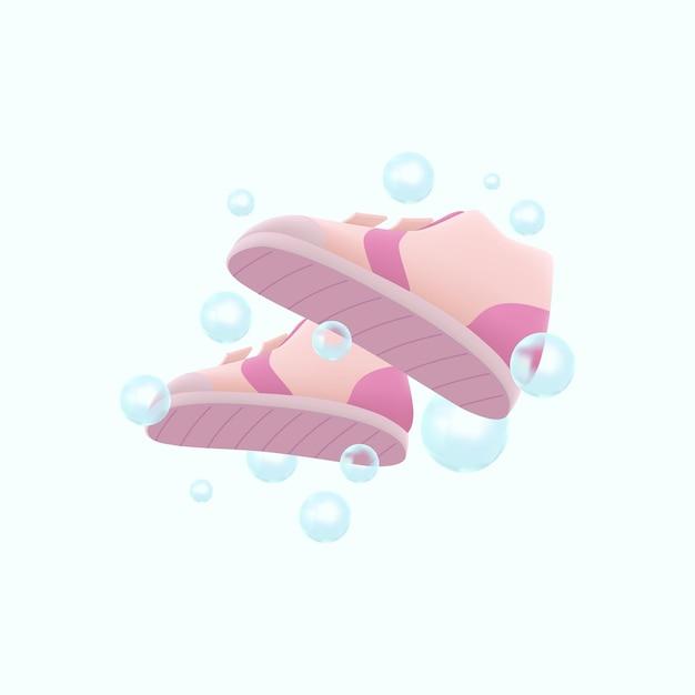 Lavaggio scarpe 3d con illustrazione di bolle Vettore Premium
