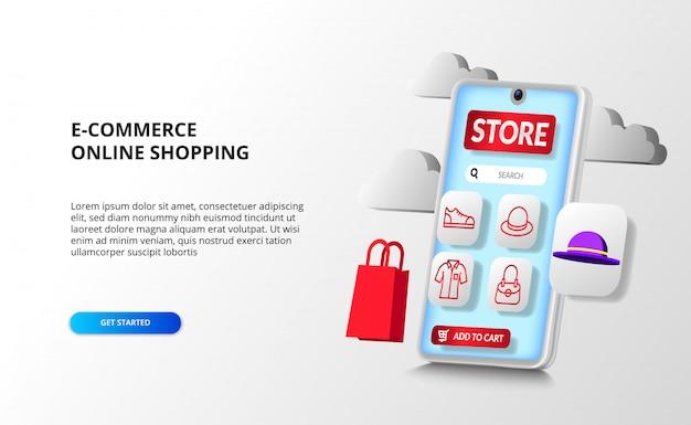 App di prospettiva per smartphone 3d per il concetto di acquisto online di e-commerce con icona di contorno di moda con borsa della spesa 3d e prodotto di cappello Vettore Premium