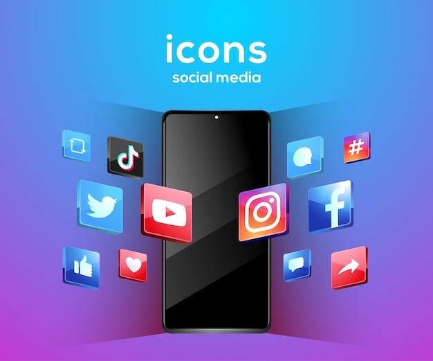 Icone di social media 3d con il simbolo dello smartphone Vettore Premium