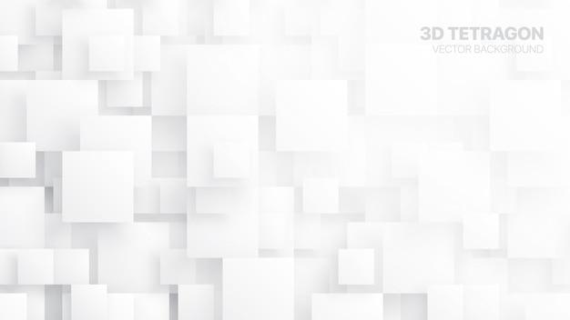Fondo bianco astratto concettuale di tetragoni 3d Vettore Premium