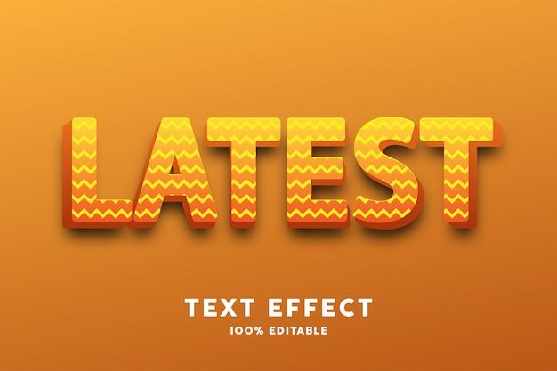 Testo 3d giallo lucido con motivo a zigzag, effetto testo Vettore Premium