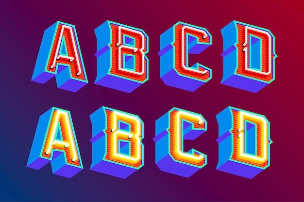Lettere vintage 3d con luci al neon fluorescenti e modalità interruttore on / off Vettore Premium