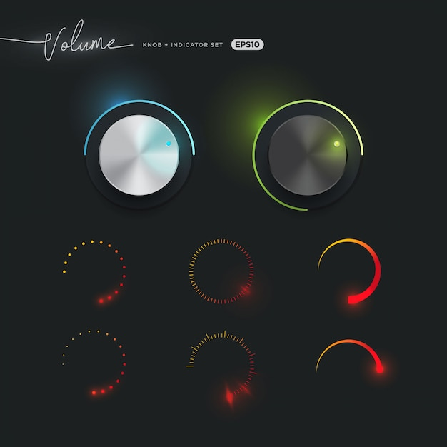Manopola volume 3d e raccolta indicatore Vettore Premium