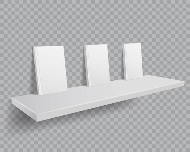 Libri bianchi 3d sullo scaffale per libri. mockup di libri con copertine vuote sullo scaffale. Vettore Premium