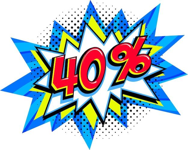 40 di sconto. palloncino scoppio comico blu vendita Vettore Premium