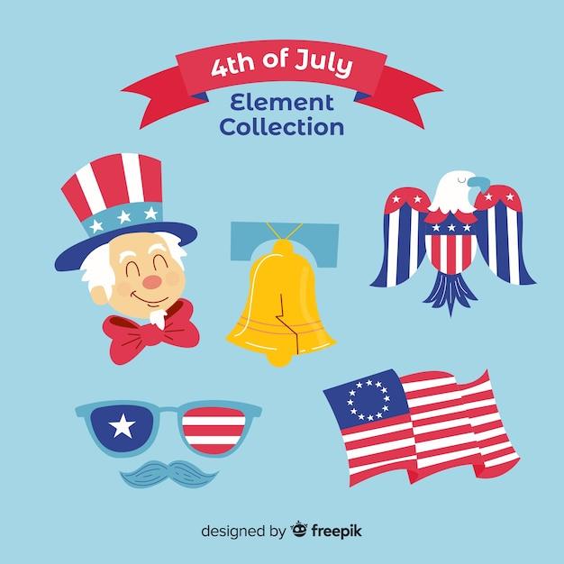 4 luglio - collezione di elementi per l'indipendenza Vettore Premium
