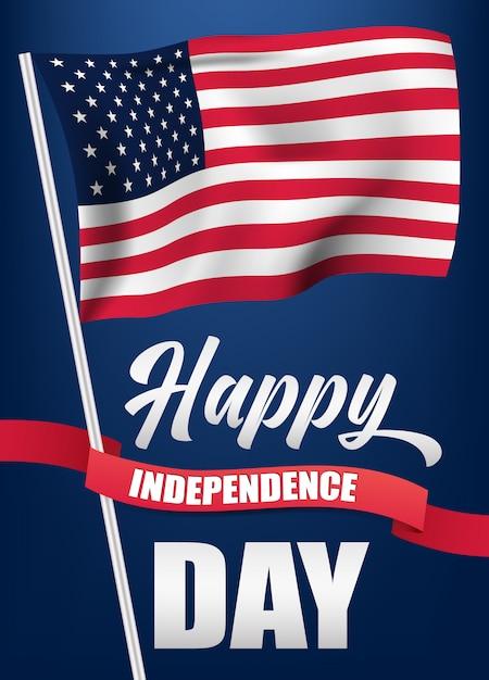 4 luglio con bandiera usa e ribbone, illustrazione della bandiera di festa dell'indipendenza. Vettore Premium