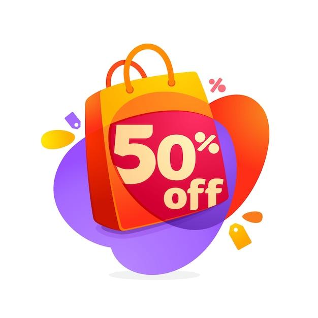 Vendita del 50% con icona della borsa della spesa e tag di vendita. Vettore Premium