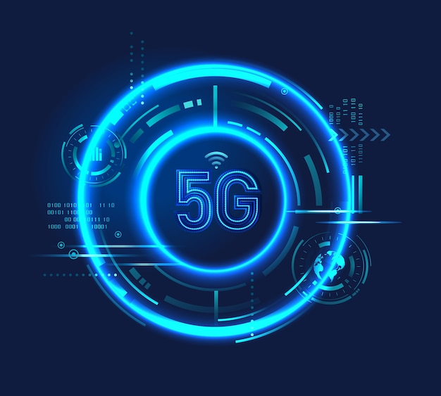 Icona del logo della tecnologia 5g con circuito digitale, luce al neon, futuristico vettore hud. connessione internet wireless ad alta velocità. Vettore Premium