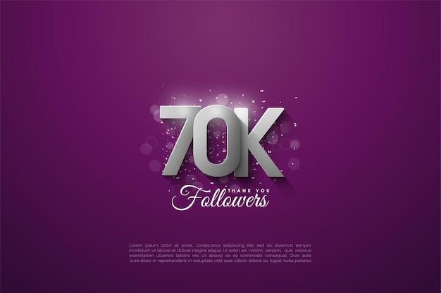 60k follower con numeri d'argento tridimensionali che si sovrappongono su uno sfondo viola. Vettore Premium