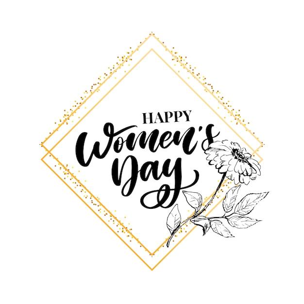8 marzo. carta di congratulazioni felice giorno della donna con corona floreale lineare Vettore Premium
