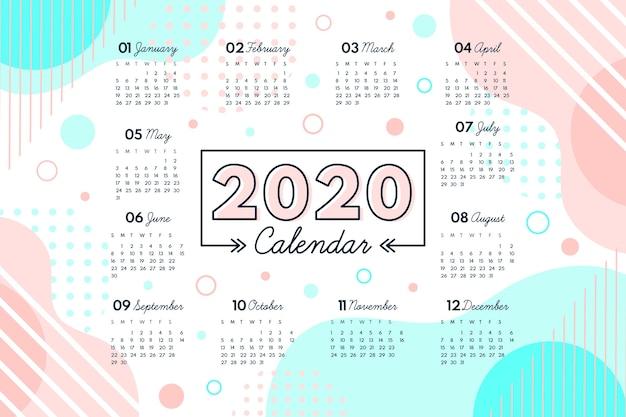 Modello di calendario 2020 astratto Vettore Premium