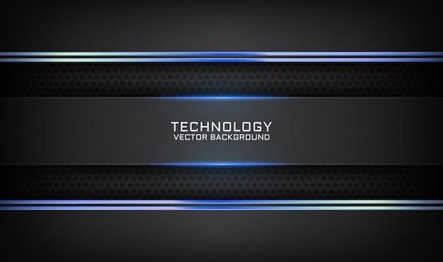 Fondo nero astratto di tecnologia 3d con effetto della luce blu sullo spazio scuro Vettore Premium